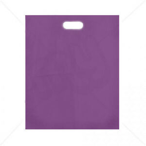 Purple Plastic Shopping Carrier Bags 15 x 18 x 3 Inch Patch Handle 100 500 1000