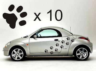 Aggressivo 10 Paw Print Muro O Adesivi Auto Qualsiasi Colore Dog Rimovibile Art 4x4 Pet Grooming-