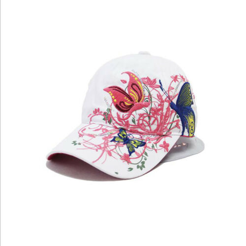 Ladies Black And White Fashion Sequin Baseball Cap Butterfly Embroidered Cap 8C