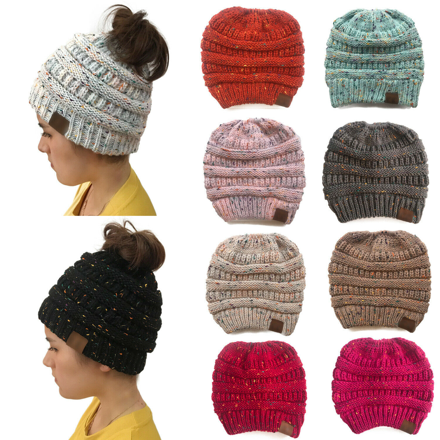 388fa311a Details about Women's Beanie Ponytail Messy Bun BeanieTail Multi Color  Ribbed Winter Hat Cap