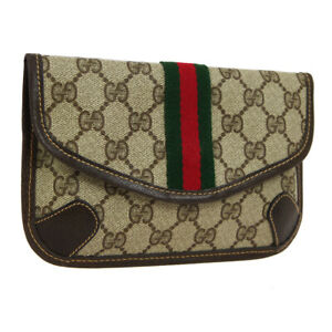 Auth-GUCCI-GG-Shelly-Line-Mini-Clutch-Hand-Bag-Pouch-Brown-PVC-Leather-WA00448