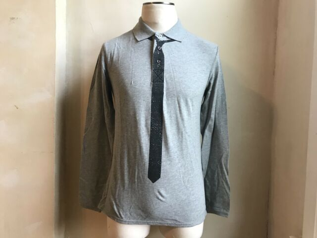 169e573e Frequently bought together. CLASS ROBERTO CAVALLI GREY BLACK PRINT TIE LONG  SLEEVE POLO T SHIRT ...