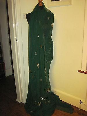 Green Sari Saree Vintage 1970s Lustrini Ricamato Genuine Indian-mostra Il Titolo Originale Belle Arti