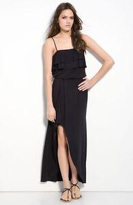 17aa4e576c6  189 Krisa Ruffle Bodice Slit Front Maxi Dress Black Blouson Size ...