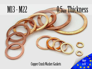 M13-M36-Thick-0-5mm-Metric-Copper-Flat-Ring-Oil-Drain-Plug-Crush-Washer-Gaskets