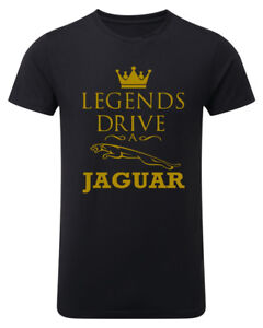 Jaguar-LEGENDS-DRIVE-Mens-T-shirt-Womens-Unisex-GOLD-logo-Top-Black-T-shirt