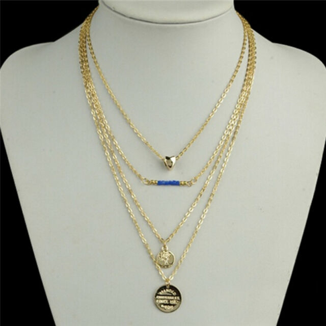 Women's Heart Blue Beads Charm Gold Plated Chain Pendant Multi-layer Necklace SG