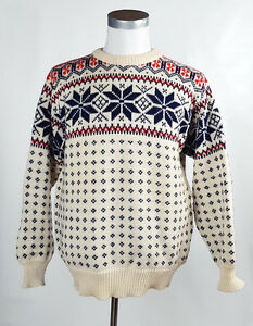Dale Of Norway 52 LONG Large Heavy Wool Sweater Nordic Print Mens ...