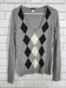 J-Crew-Womens-Size-S-Gray-Argyle-V-Neck-Long-Sleeve-Pullover-Sweater-Wool-Blend