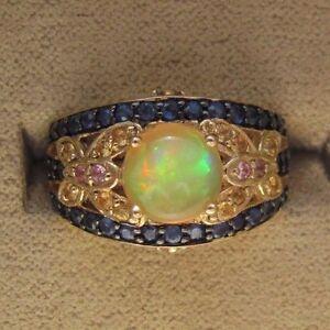 10K-Yellow-Gold-Ethiopian-Opal-amp-Blue-Pink-Yellow-Sapphire-Ring-Size-7-JTV