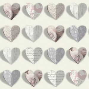 Magnificent Details About Arthouse Olivia Heart Shapes Roses Scripts Vintage Shabby Chic Love Wallpaper Home Interior And Landscaping Ponolsignezvosmurscom