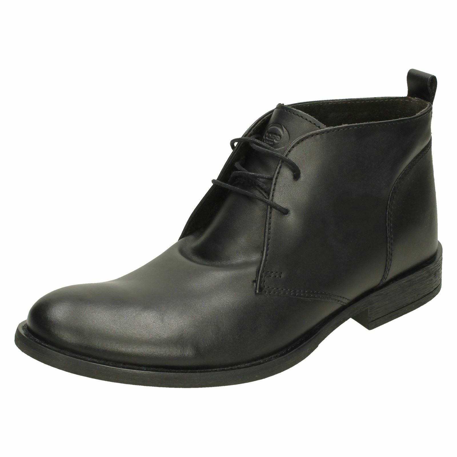 Mens Base London Rounded Toe Formal Smart Smart Smart Lace Up Leather Ankle Stiefel Teak 67e223