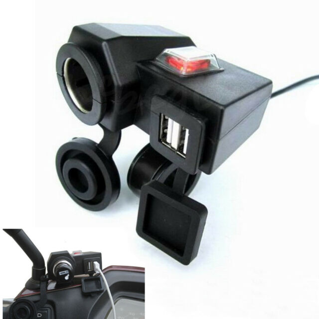 Waterproof Motorcycle Phone 2.1A Cigarette Lighter Dual USB Power Socket Charger