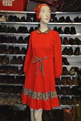Caritatevole Acquisto Halle Il Nostro Preferito Abito Rosso Collo True Vintage 70s Red Dress-mostra Il Titolo Originale Chiaro E Distintivo