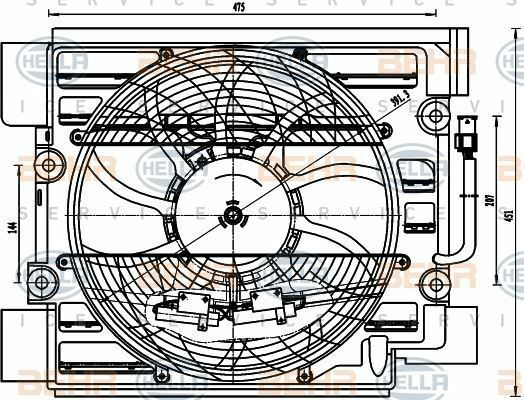 8EW 351 040-101 HELLA Lüfter Klimaanlage Kondensator