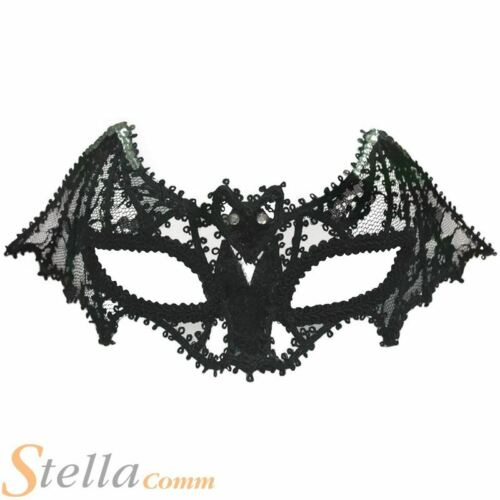 Black Lace Bat Mask Masquerade Ball Mask On Headband Fancy Dress Accessory