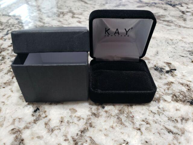 Kay Jewelers Empty Black Velvet Ring Box With Presentation