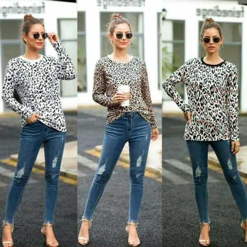 Crew Neck Blouse Womens Pullover Casual T-Shirt Leopard Print Top Long Sleeve