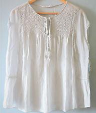 Zara Women Sheer Bib Tie Neck Cap Sleeve Top Tunic T Shirt Hippie Blouse UK 6-12