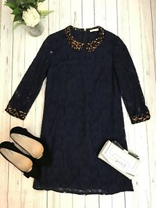 Vestido-De-Fiesta-Whistles-Talla-8-Azul-Marino-Ribete-De-Encaje-De-Leopardo-Animal-Print-cuello
