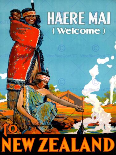 TRAVEL TOURISM ADVERTISEMENT HAERE MAI WELCOME NEW ZEALAND PRINT POSTER BB9819