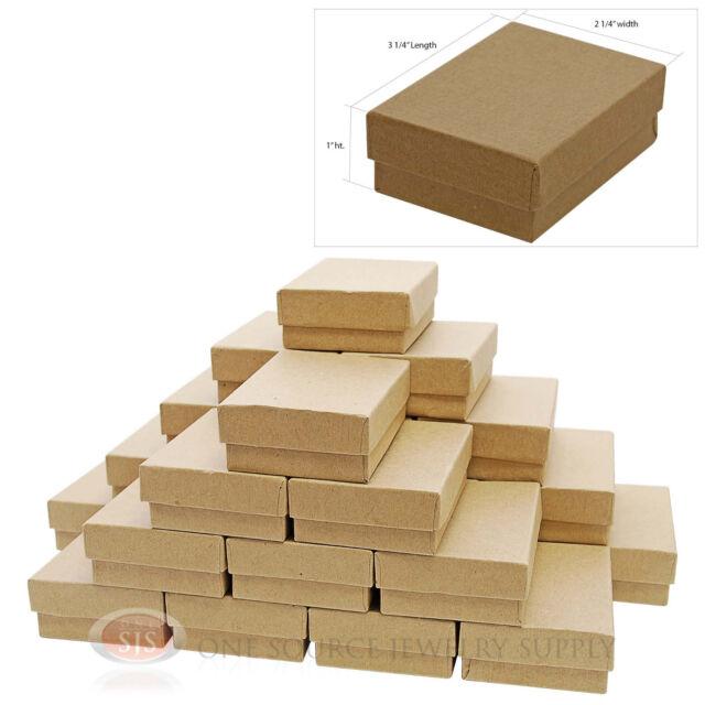 "25 Kraft Cotton Filled Gift Boxes 3 1/4"" X 2 1/4"" Jewelry Pendant Box"