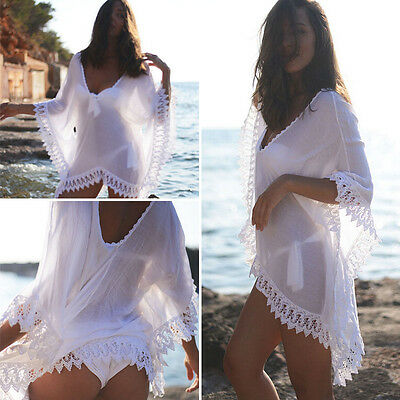 Women Sexy V Neck Loose Lace Beach Swimsuit Swimwear Bikini Boho Cover Up Dress