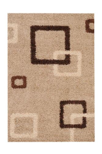 D/'un Épais Shaggy tapis moderne encadré Case Design Beige Marron 160x230cm