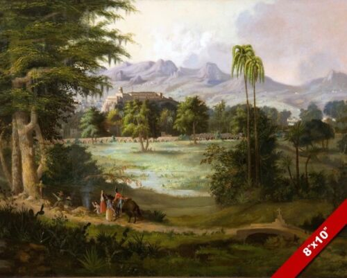 CHAPULTEPEC IMPERIAL CASTLE MEXICO CITY LANDSCAPE PAINTING ART REAL CANVAS PRINT