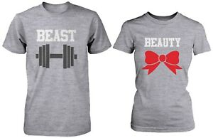 buy online 0b98c 61f57 Image is loading Cute-Workout-Matching-Couple-Shirts-Beauty-and-Beast-