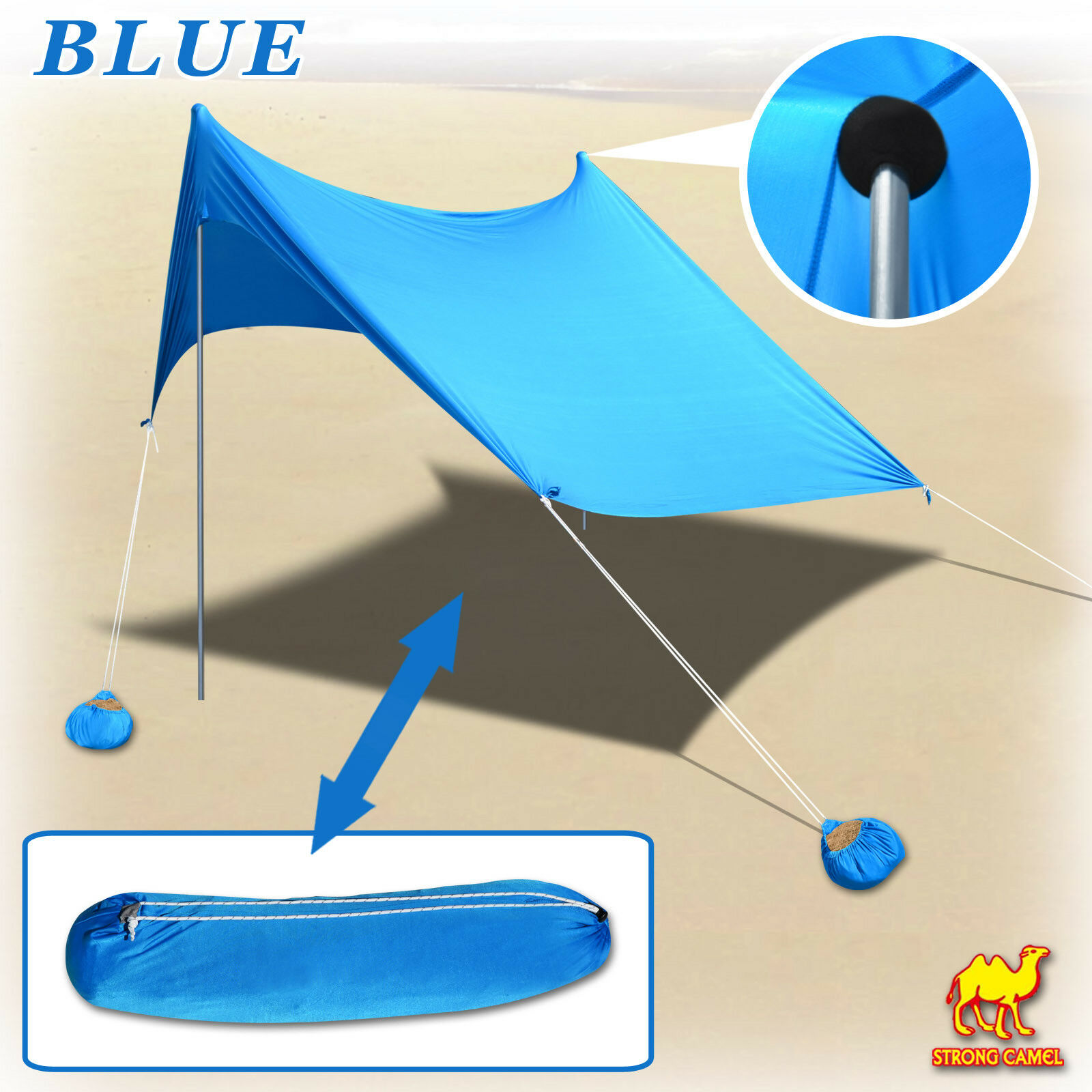 7'X7' Beach Tent Sunshade Shelter Portable Canopy UV Predect w Sand Anchor bluee