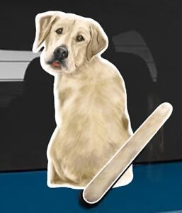 Yellow Labrador Rear Car Window Sticker With Wagging Tail To Fit On Wiper Arm