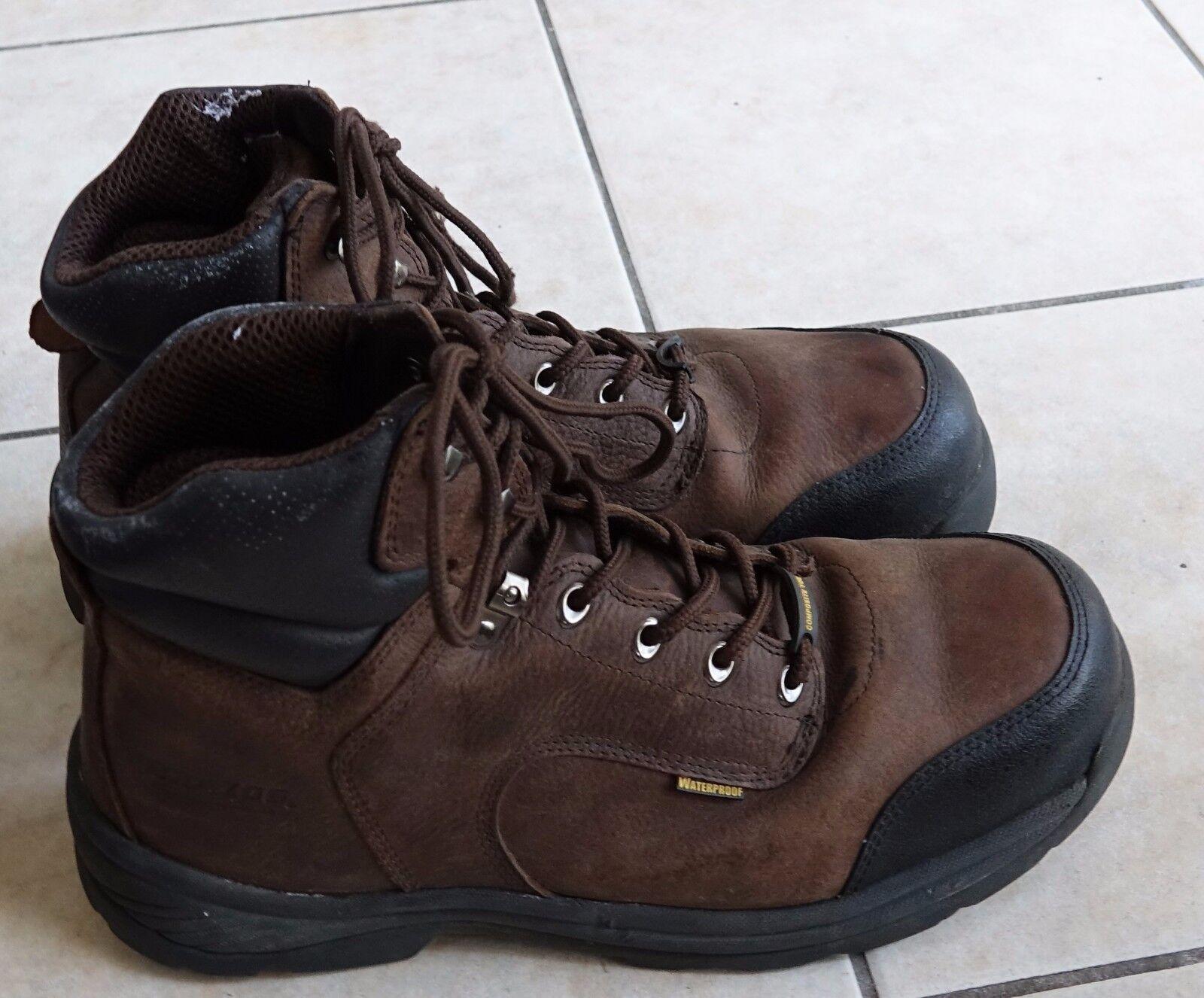 Brazos uomini brown pieno fiore di pizzo cavallo ii lavoro punta dacciaio gli stivali da lavoro, 13
