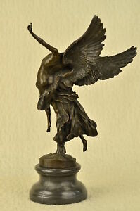 Western-Mythical-Bronze-Marble-Angel-Warrior-GLORIA-VICTIS-Art-Deco-Sculpture