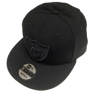 d75e4b2cedf New Era NFL Oakland Raiders All Black Shield Logo Snapback Cap ...