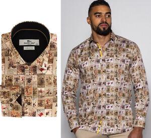 Brand-New-Claudio-Lugli-Vintage-Football-Imprime-Satin-Coton-Chemise-Homme