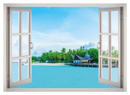 Bora Bora Beach Island Window 3D Wall Decal Art Mural Decor Canvas Vinyl W138