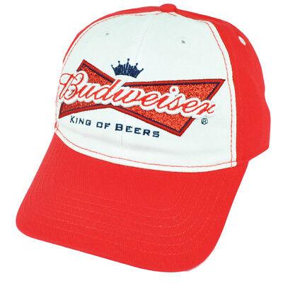 Budweiser King Of Beers Glitzer Damen Rote Weißes Sonne Schnalle Hut Malz 2tone üBereinstimmung In Farbe Sport