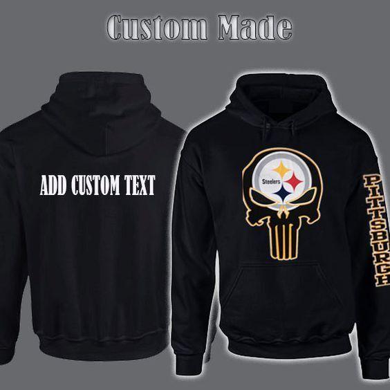 Pittsburgh Steelers Punisher Pullover Hooded Hoodie Sweatshirt S - 5XL