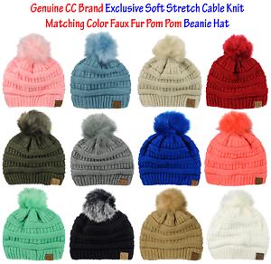 CC Exclusive Soft Stretch Cable Knit Colored Faux Fur Pom Pom CC Beanie Hat bb8ba67b5b9
