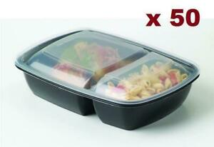 Black 30 oz. 8 x 6 X 2 Rectangular 2 Compartment Microwaveable Take Out Container with Lid 50/CS Canada Preview