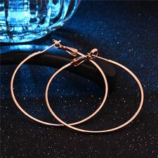 Women Korean Rose Gold Plated Big Round Circle Dangle Hoop Earrings 1 Pair