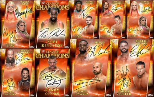 Topps SLAM WWE CLASH OF CHAMPIONS 2019 9 CARD RED DUAL//SIGNATURE SET Alexa+++
