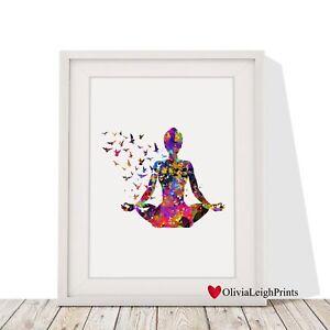 Yoga Pose Lotus Flower Meditation Spiritual Bright Wall Art Print