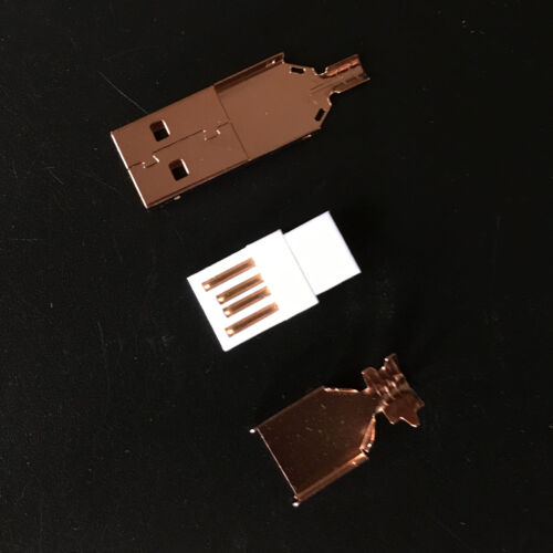 10Sets USB 2.0 A Male to B Male Plug Rose Gold Plated Connector Metal Cover Weld