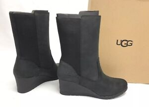 5ba26fa6e51 Details about UGG Australia CORALINE BOOT HEELS WATERPROOF LEATHER Black  1095133 WP Women's