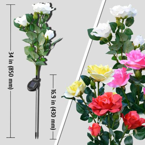 Rose Flower LED Lights Solar Powered Garden Stake Fairy Lamp Yard Outdoor Decor