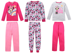 Girls Kids Official Licensed Disney Minnie Mouse Long Sleeve Pyjamas PJs