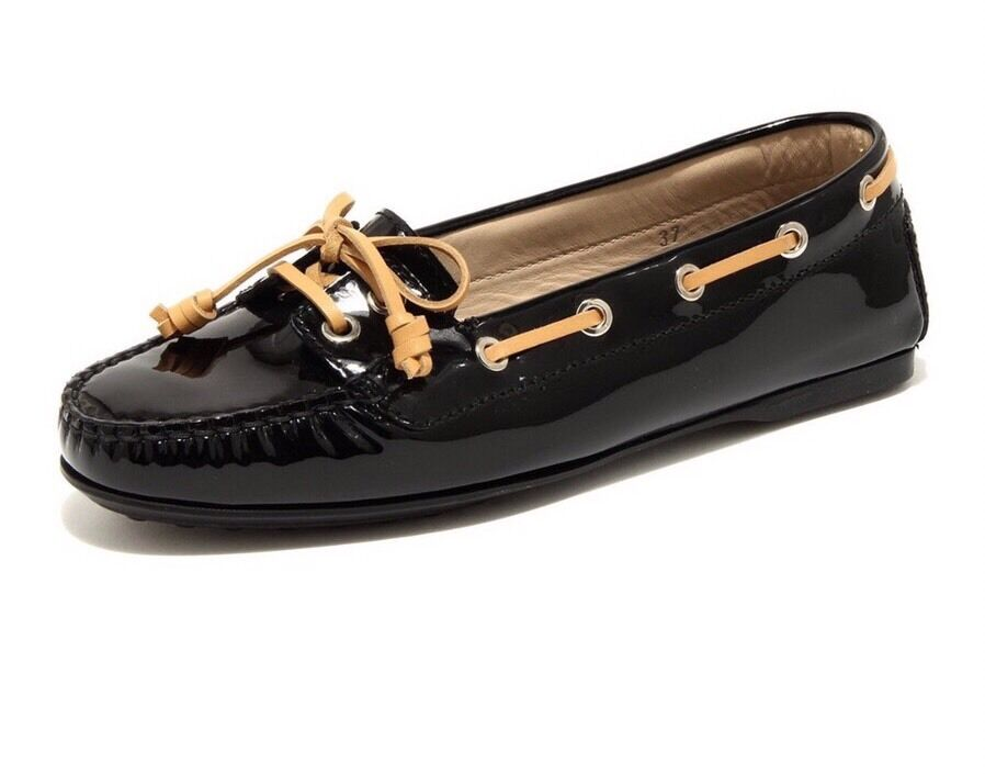 Authentic black TOD's patent leather moccasins size 7.5