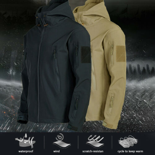 Mens Jacket Hooded Hoodie Tactical Coat Soft Work Military Jackets Outwear Tops